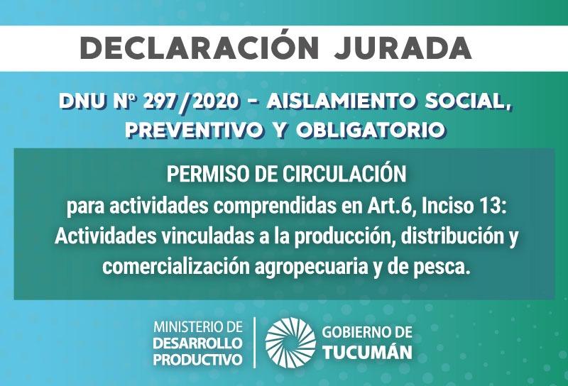 DECLARACIÓN JURADA – Aislamiento Social, Preventivo y Obligatorio