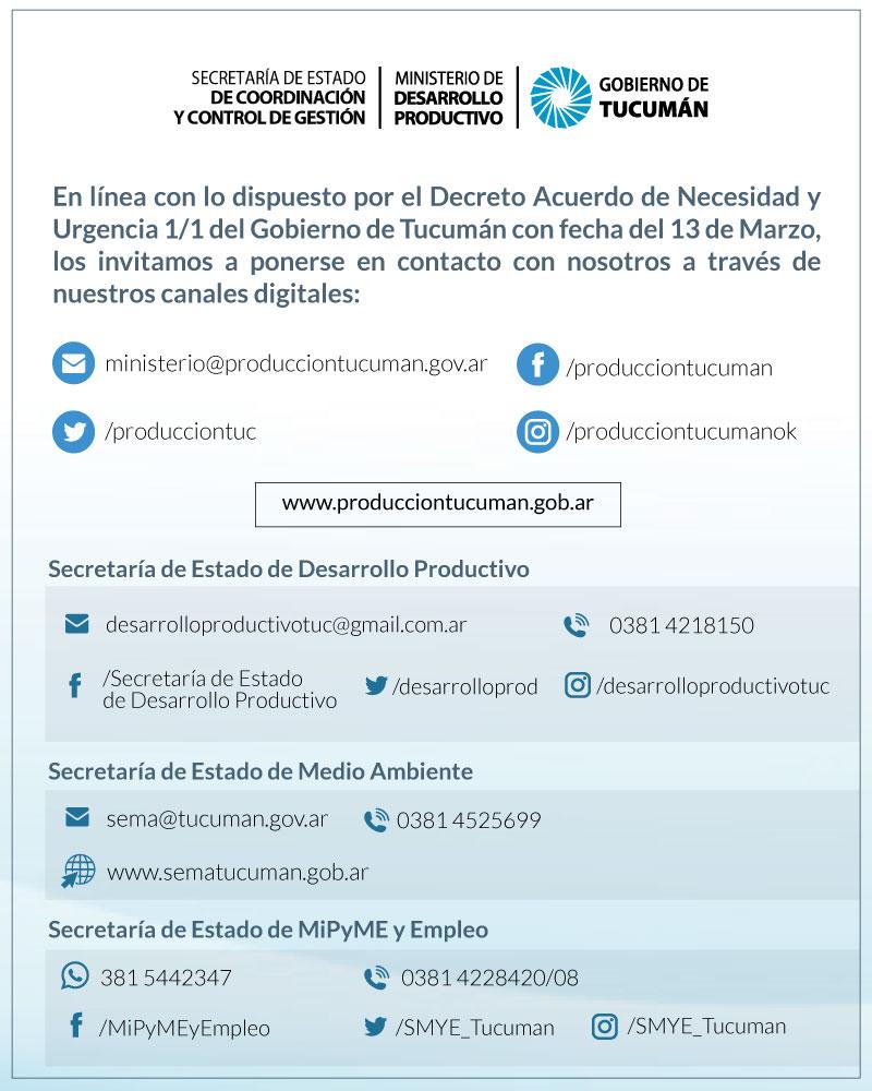 El Ministerio de Desarrollo Productivo informa sus canales de comunicación